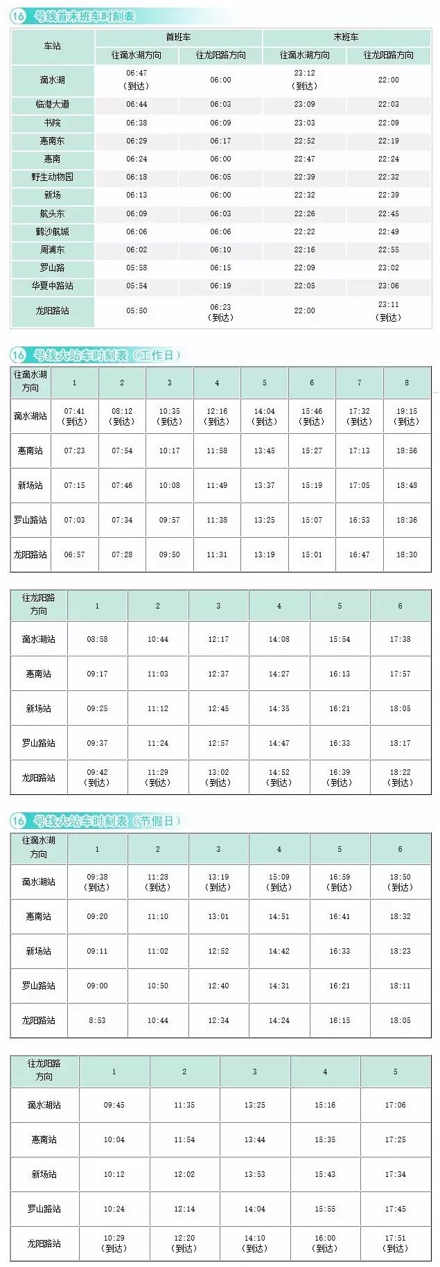 上海14条地铁线时刻表(最新)